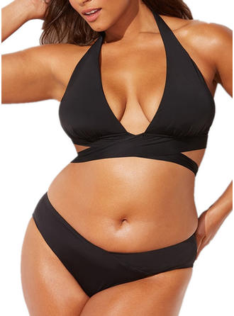 Couleur Unie Dos Nu Sexy Grande taille Bikinis Maillots De Bain