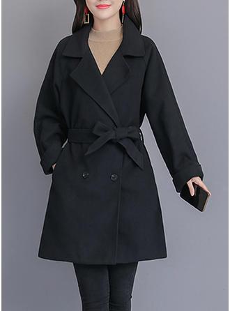 Polyester Manches longues Couleur unie Manteaux en Tissu Mixte