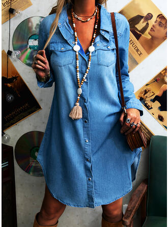 Solid Long Sleeves Shift Knee Length Casual/Denim Shirt Dresses