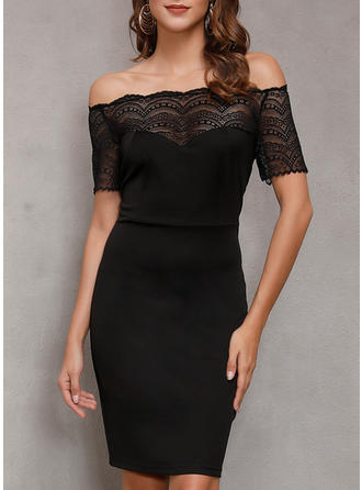 Lace/Solid Short Sleeves Bodycon Above Knee Little Black Dresses