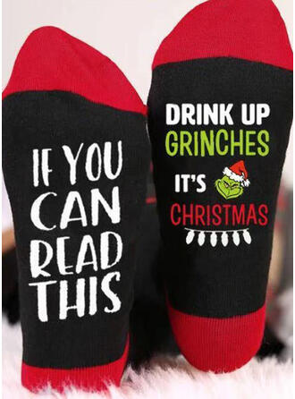 Letter/Print/Grinch Breathable/Christmas/Crew Socks/2020 Socks