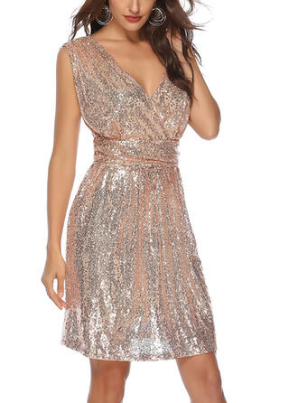 Sequins Sleeveless Sheath Knee Length Sexy/Party Dresses
