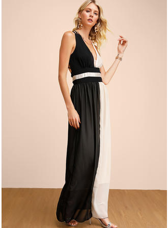 Color-block Sleeveless A-line Maxi Sexy/Party Dresses