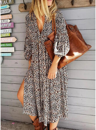 Leopard 3/4 Sleeves Shift Casual Midi Dresses
