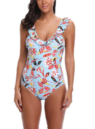 Floral U-Neck Beautiful One-piece Swimsuits