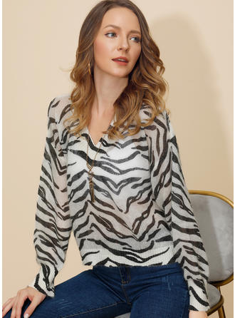 Animal Print V neck Sweaters
