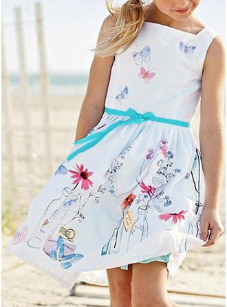 Meninas Alcinhas Floral Impressão Casual Vestido