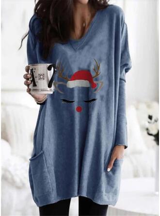 Print Lommer rund hals Lange ærmer Jule sweatshirt