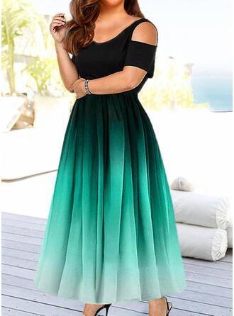 Print Short Sleeves/Cold Shoulder Sleeve A-line Skater Casual/Elegant Maxi Dresses
