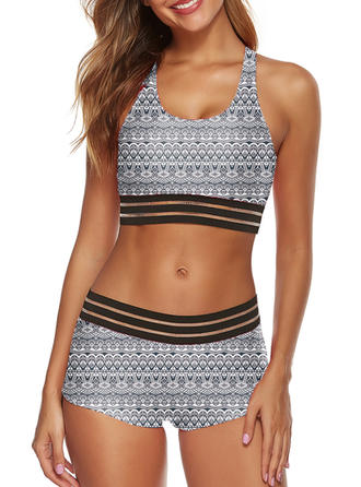 Low Waist Print Strap U-Neck Sexy Bikinis Swimsuits