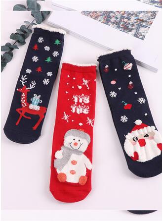 Print Breathable/Comfortable/Christmas/Crew Socks Socks 3-pairs