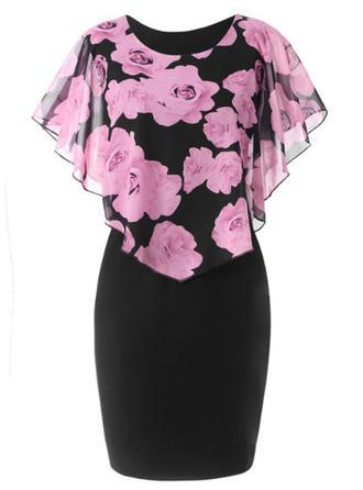 Floral Short Sleeves Bodycon Knee Length Casual/Elegant Dresses