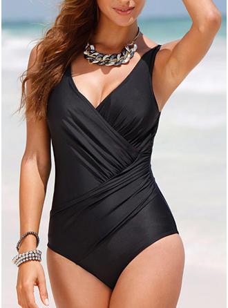 Dot V-neck Elegant One-piece Swimsuits