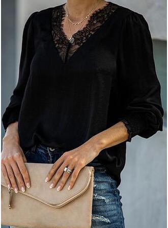 Solid Lace V-Neck Lantern Sleeve Long Sleeves Casual Elegant Blouses