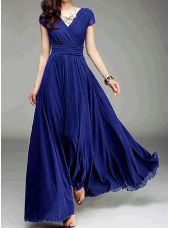 Solid Short Sleeves A-line Maxi Casual Dresses