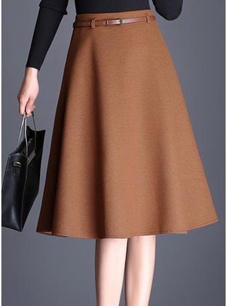 Polyester Plain Knee Length A-Line Skirts