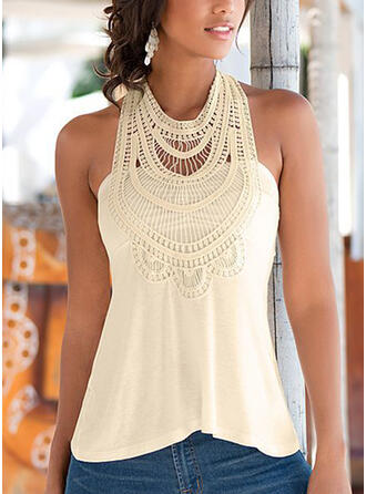 Patchwork Lace Round Neck Sleeveless Sexy T-shirts