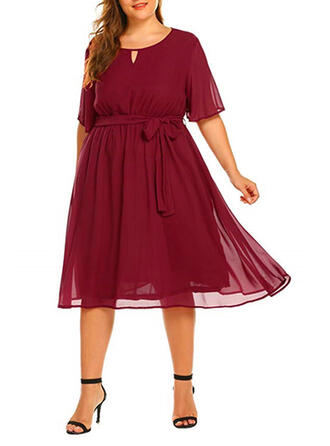Solid 1/2 Sleeves A-line Casual/Plus Size Midi Dresses