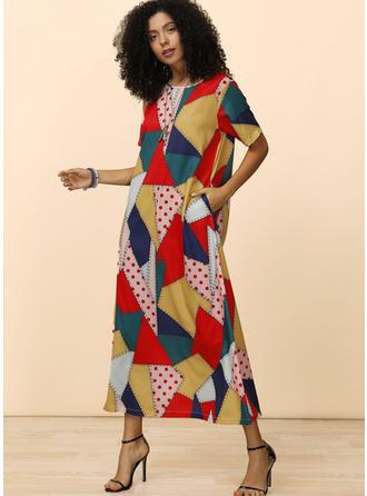 Print/Patchwork Short Sleeves Shift Midi Casual Dresses