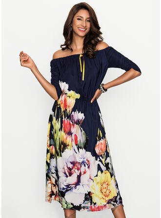 Floral Off-the-Shoulder Maxi Shift Dress