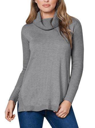 Wełna Golf Jednolity kolor Swetry