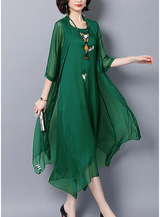 Embroidery/Solid 3/4 Sleeves Shift Casual/Elegant Midi Dresses