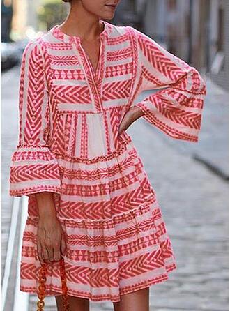 Print 3/4 Sleeves/Flare Sleeves A-line Above Knee Casual/Elegant Dresses