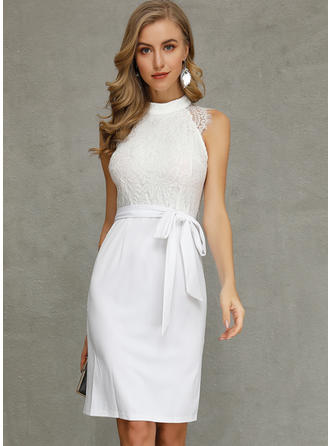 Lace Sleeveless Bodycon Knee Length Elegant Dresses