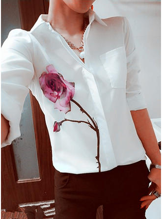 Chiffon Lapel Print Long Sleeves Casual Blouses