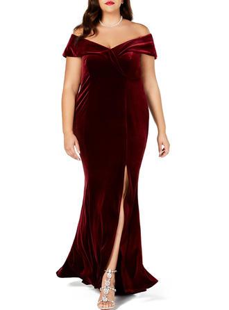 Solid Cap Sleeve Sheath Maxi Little Black/Party/Elegant Dresses