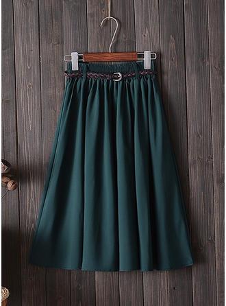 Polyester Jednobarevný Délka ke kolenům Sukně do tvaru A