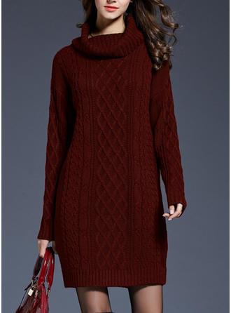 Plain Cable-knit Turtleneck Sweater Dress