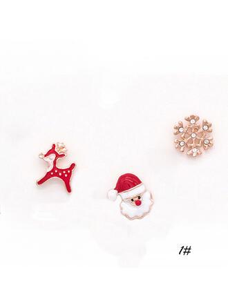 Niza Colorido Simple Navidad Aleación La perla de faux con Perlas de imitación De mujer Pendientes (Juego de 6)