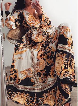 Nadrukowana Długie rękawy W kształcie litery A Maxi Przyjęcie/Elegancki Sukienki