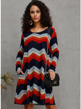 Striped Long Sleeves A-line Knee Length Casual Dresses
