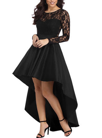 Lace/Solid Long Sleeves A-line Asymmetrical Vintage/Little Black/Elegant Dresses
