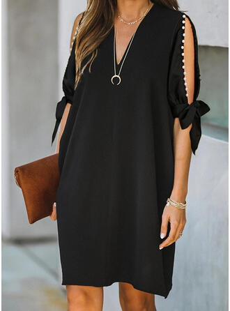 Solid 1/2 Sleeves/Cold Shoulder Sleeve Shift Knee Length Little Black/Casual Tunic Dresses