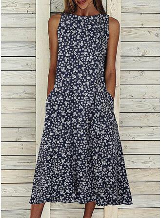 Nadrukowana Bez rękawów W kształcie litery A Casual Midi Sukienki