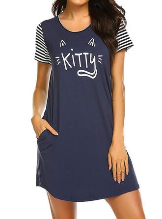 Polyester Striped Plus Size Round Neck Cartoon Short Sleeves Animal Night Dress