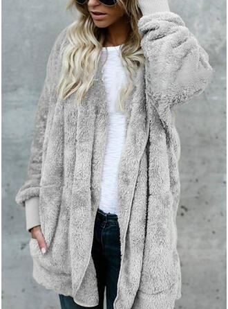 Faux Fur Long Sleeves Plain Faux Fur Coats