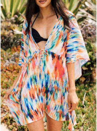 Colorful V-Neck Bohemian Classic Cover-ups Swimsuits