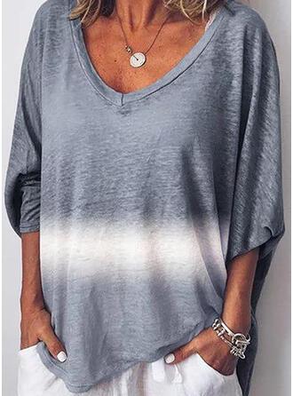 Impresión Cuello en V Mangas 3/4 Casual Camisetas