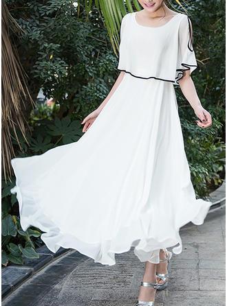 Cold Shoulder Sleeve A-line Maxi Casual/Elegant Dresses