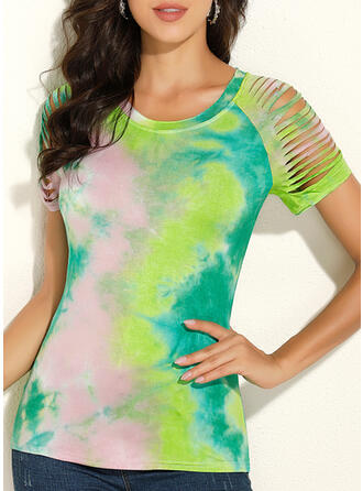 Tie Dye Round Neck Short Sleeves Casual Blouses (1003292862)