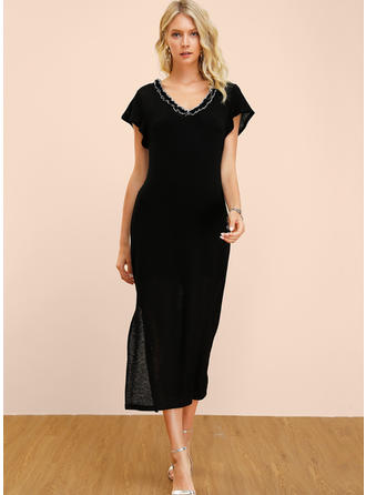 Solid Short Sleeves Sheath Midi Little Black/Casual/Elegant Dresses