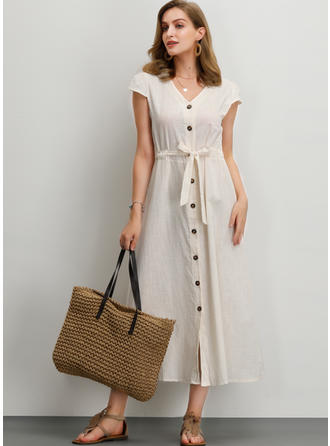 Solid Short Sleeves A-line Midi Casual/Vacation Dresses