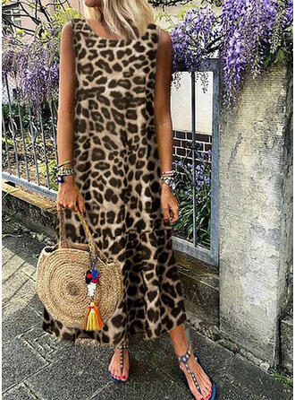 Leopard Sleeveless Shift Casual/Vacation Maxi Dresses