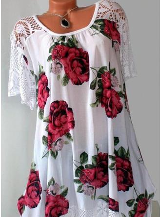 Floral Cuello redondo Manga corta Casual Blusas