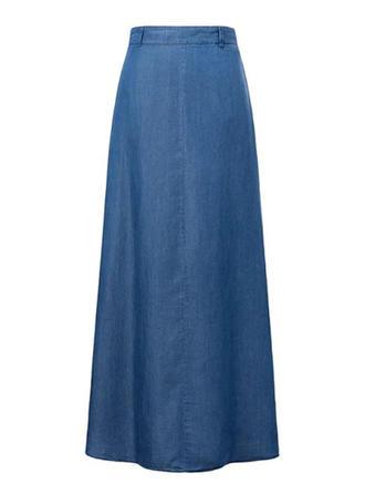 Baumwollstoff Einfarbig Maxi Demin Röcke