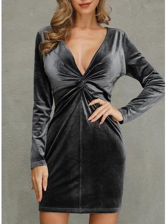 Solid Long Sleeves Sheath Above Knee Party/Elegant Dresses